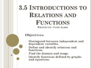 3.5 Introduction to Relations and Functions