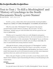 Text to Text | 'To Kill a Mockingbird' and 'History of Lynchings in the South Documents Nearly 4,000