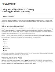 Using Vocal Qualities to Convey Meaning in Public Speaking - Video & Lesson Transcript | Study.com.p