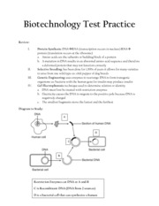 biotechnology test practice