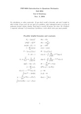 Exam 2 Solution on Quantum Mechanics 1