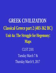 CLST 2101 Unit 4a Classical Greece  part 2 - Struggle for Hegemony - maps