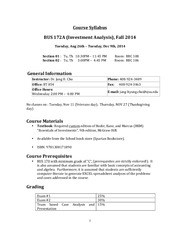 Course Syllabus - BUS 172A Fall 2014