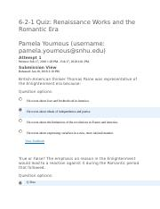 Pamelayoumous Quiz Renaissance Work And The Romantic Era Docx  Quiz Renaissance Works And The Romantic Era Pamela Youmoususername