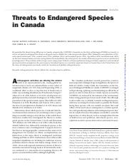 (Reading 11) Threats to Endangered Species in Canada
