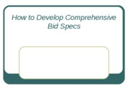 How to Develop Comprehensive Bid Specs