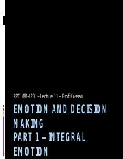 Lecture 11 - Emotion and Decision Making (Part 1) (upload)