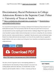 Discriminatory Racial Preferences in Co...isher v. University of Texas at Austin.pdf