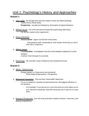 Copy of Psy Unit 1: Psychology's History and Approaches notes