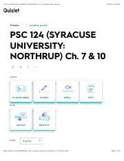 PSC 124 (SYRACUSE UNIVERSITY: NORTHRUP) Ch  7 &