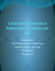 Critical Analysis of Three Articles on Healthcare Reform (final edit)