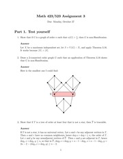 MATH 423 Fall 2014 Assignment 3 Solutions