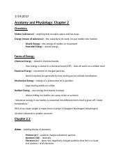 Anatomy and Physiology Chapter Two