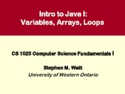 CS1025 03 -- Intro to Java I -- variables, loops, arrays