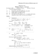 MATH 3C03 Fall 2008 Midterm 2 Solutions