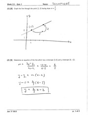 Math 111 Quiz 1 Version 1 Solutions