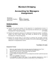 3. Assignment Questions - Murdoch Bridging Accounting for Managers 2 Feb 2015 (Updated on 29 Aug 201