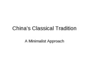 Lecture 5a, China's Classical Tradition (1)