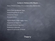 Lecture: Motions of the Planets