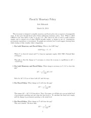 Fiscal and Monetary Policy Notes - Econ 1102