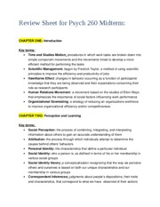 Review Sheet for Psych 260 Midterm 9703