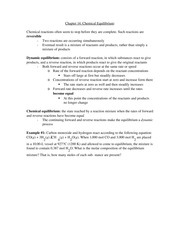 Chemistry Chapter 14 Notes- Chemical Equilibrium