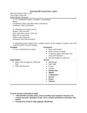 Marketing 300 Group Project Update Template