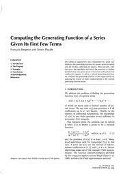 Computing the Generating Function of a Series Given its First Few Terms