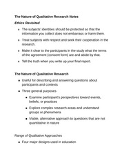 The Nature of Qualitative Research Notes