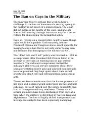 The Ban on Gays in the Military