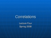 Lecture 4 - Correlation