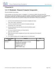 1.2.1.11 Worksheet Solution - Research Computer Components - IT ...