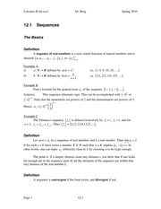 Calculus II Notes 12.1
