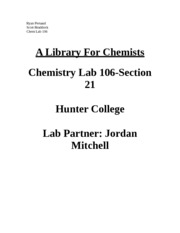 A Library for Chemists Lab Report