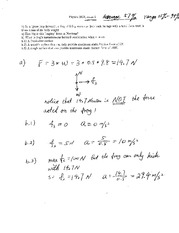 Exam 2 Solution on Physics 1 with Mechanics