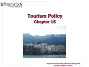 Chapter 15 Tourism Policy