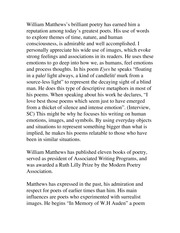 Review of William Matthew's Poetry