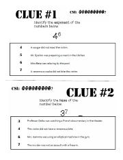 CSI Exponent Clue Cards Print 1 Set