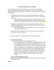 Lesson Plan Reflection Paper and Rubric 1
