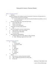 Study Guide for Lecture 4 - business markets