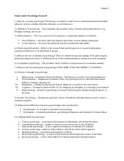 Psych Exam 01 Study Guide