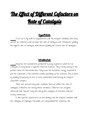 The Effect of Different Cofactors on Rate of Catalysis