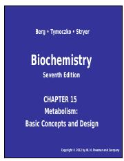 Chapter 15 Metabolism - Basic Concepts and Design