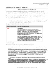 global communication worksheet essay Find communication example essays, research papers, term papers, case  studies or speeches  a global supply planner trying to send an expedited  shipment of drug product to another country  communication process  worksheet.