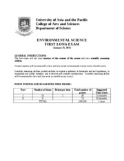 ANSWER_KEY_ENVIRONMENTAL SCIENCE EXAM 1 2010-2011