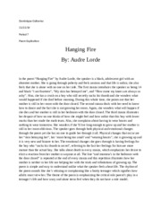 Hanging fire audre lorde essay
