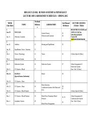 BIOL 125-002 Lecture and Lab Schedule 2015