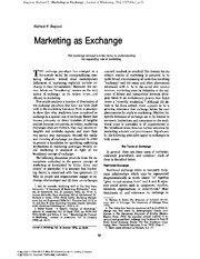 Bagozzi (1975) Marketing as Exchange
