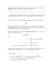 Lecture 22 (Ratio Test and Root Test)