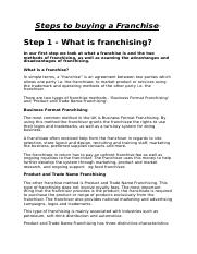 steps to buying a franchise